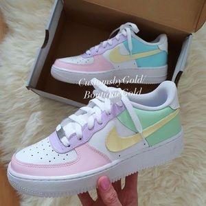 Custom multicolor pastel Nike Air Force 1